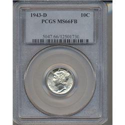 1943-D Mercury Dime Coin PCGS MS66FB