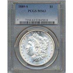 1889-S $1 Morgan Silver Dollar Coin PCGS MS63