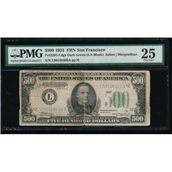 1934 $500 San Francisco Federal Reserve Note PMG 25