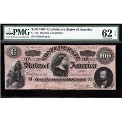 1864 $100 Confederate States of America Note PMG 62EPQ