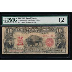 1901 $10 Bison Legal Tender Note PMG 12
