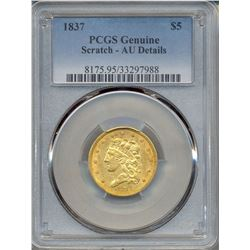 1837 $5 Liberty Head Gold Coin PCGS AU Details