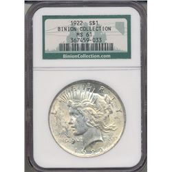 1922 $1 Peace Silver Dollar Coin NGC MS61
