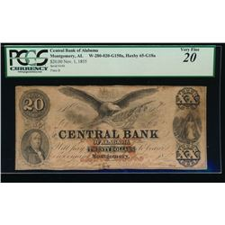 1853 $20 Central Bank of Alabama Obsolete Note PCGS 20