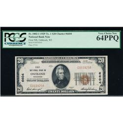 1929 $20 Oshkosh National Bank Note PCGS 64PPQ
