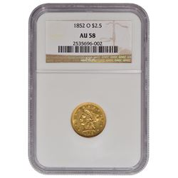 1852-O $2.5 Liberty Head Quarter Eagle Gold Coin NGC AU58
