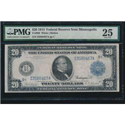 1914 $20 Minneapolis Federal Reserve Note PMG 25