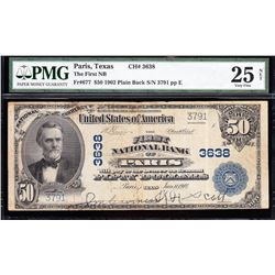 1902 $50 Paris Texas National Bank Note PMG 25NET