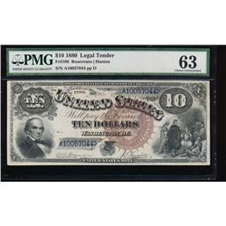 1880 $10 Jackass Legal Tender Note PMG 63