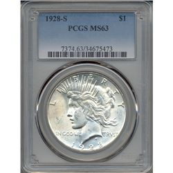 1928-S $1 Peace Silver Dollar Coin PCGS MS63