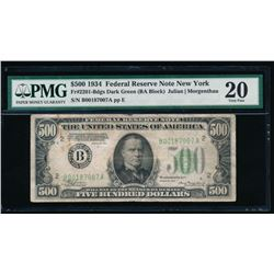 1934 $500 New York Federal Reserve Note PMG 20