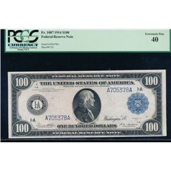 1914 $100 Boston Federal Reserve Note PCGS 40