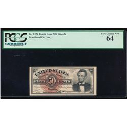 50 Cent Fourth Issue Fractional Note PCGS 64