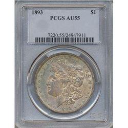 1893 $1 Morgan Silver Dollar Coin PCGS AU55