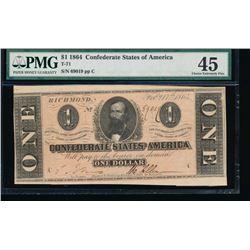 1864 $1 Confederate States of America Note PMG 45