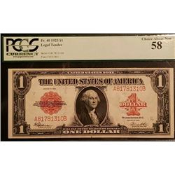 1923 $1 Legal Tender Note PCGS 58