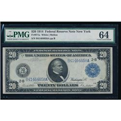 1914 $20 New York Federal Reserve Note PCGS 64