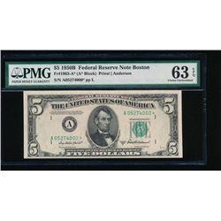 1950B $5 Boston Federal Reserve Star Note PMG 63EPQ