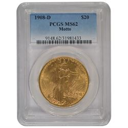 1908-D $20 St Gaudens Double Eagle Motto Gold Coin PCGS MS62