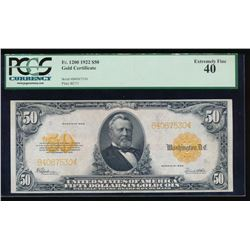 1922 $50 Gold Certificate PCGS 40