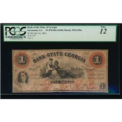 1861 $1 Bank of the State of Georgia Obsolete Note PCGS 12