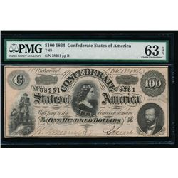 1864 $100 Confederate States of America Note PMG 63EPQ