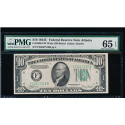 1934C $10 Atlanta Federal Reserve Note PMG 65EPQ