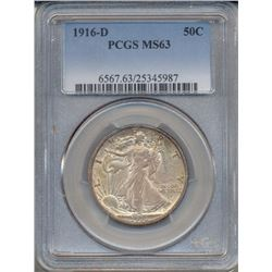 1916-D Walking Liberty Half Dollar Coin PCGS MS63