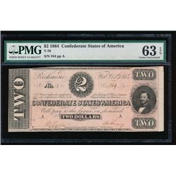 1864 $2 Confederate States of America Note PMG 63EPQ