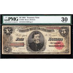 1891 $5 Treasury Note PMG 30