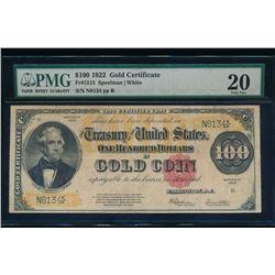 1922 $100 Gold Certificate PMG 20