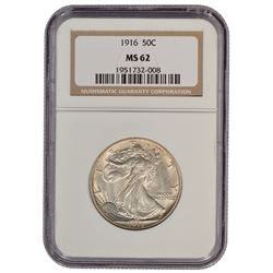 1916 Walking Liberty Half Dollar Coin NGC MS62