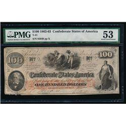 1862-63 $100 Confederate States of America Note PMG 53
