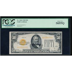 1928 $50 Gold Certificate PCGS 50PPQ