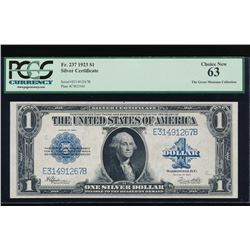 1923 $1 Silver Certificate PCGS 63