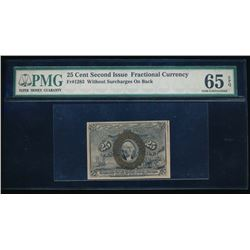 25 Cent Second Issue Fractional Note PMG 65EPQ