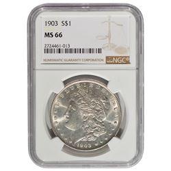 1903 $1 Morgan Silver Dollar Coin NGC MS66