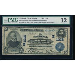 1902 $5 National Newark Banking Company Note PMG 12