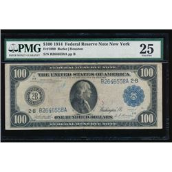 1914 $100 New York Federal Reserve Note PMG 25