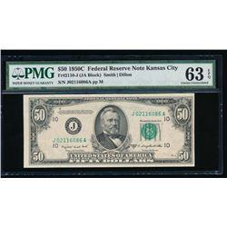 1950C $50 Kansas City Federal Reserve Note PMG 63EPQ