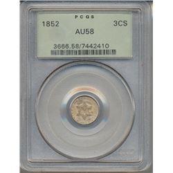 1852 Star Three Cent Coin PCGS AU58
