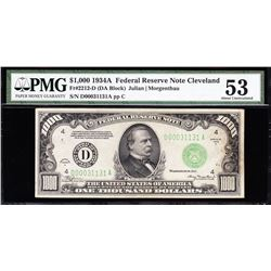 1934A $1000 Cleveland Federal Reserve Note PMG 53