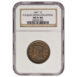 1847 Braided Hair Large Cent NGC MS61BN