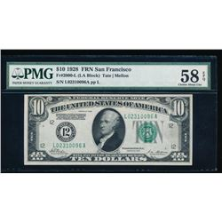 1928 $10 San Francisco Federal Reserve Note PMG 58EPQ