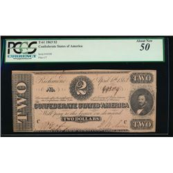 1863 $2 Confederate States of America Note PCGS 50