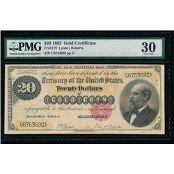1882 $20 Gold Certificate PMG 30