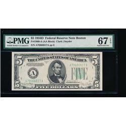 1934D $5 Boston Federal Reserve Note PMG 67EPQ