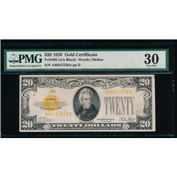 1928 $20 Gold Certificate PMG 30