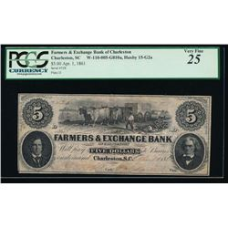 1861 $5 Farmers and Exchange Bank Obsolete Note PCGS 25