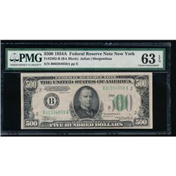 1934A $500 New York Federal Reserve Note PMG 63EPQ
